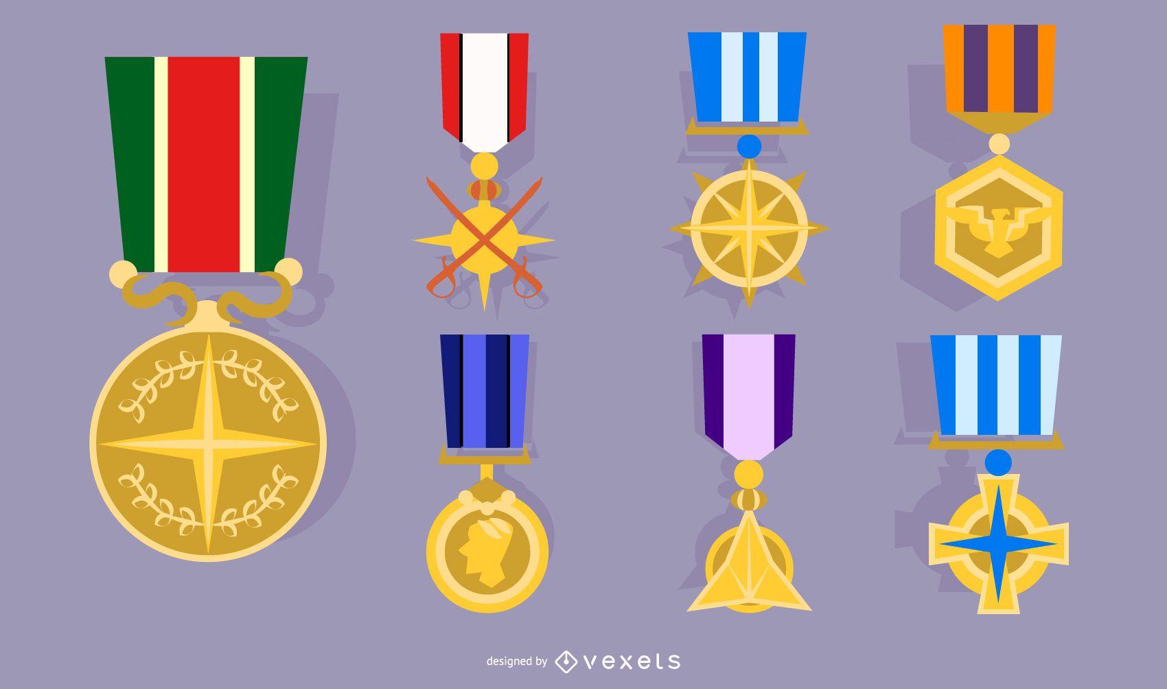 Conjunto de medalla real de oro