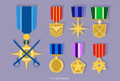 Conjunto de vetores de medalha de exército