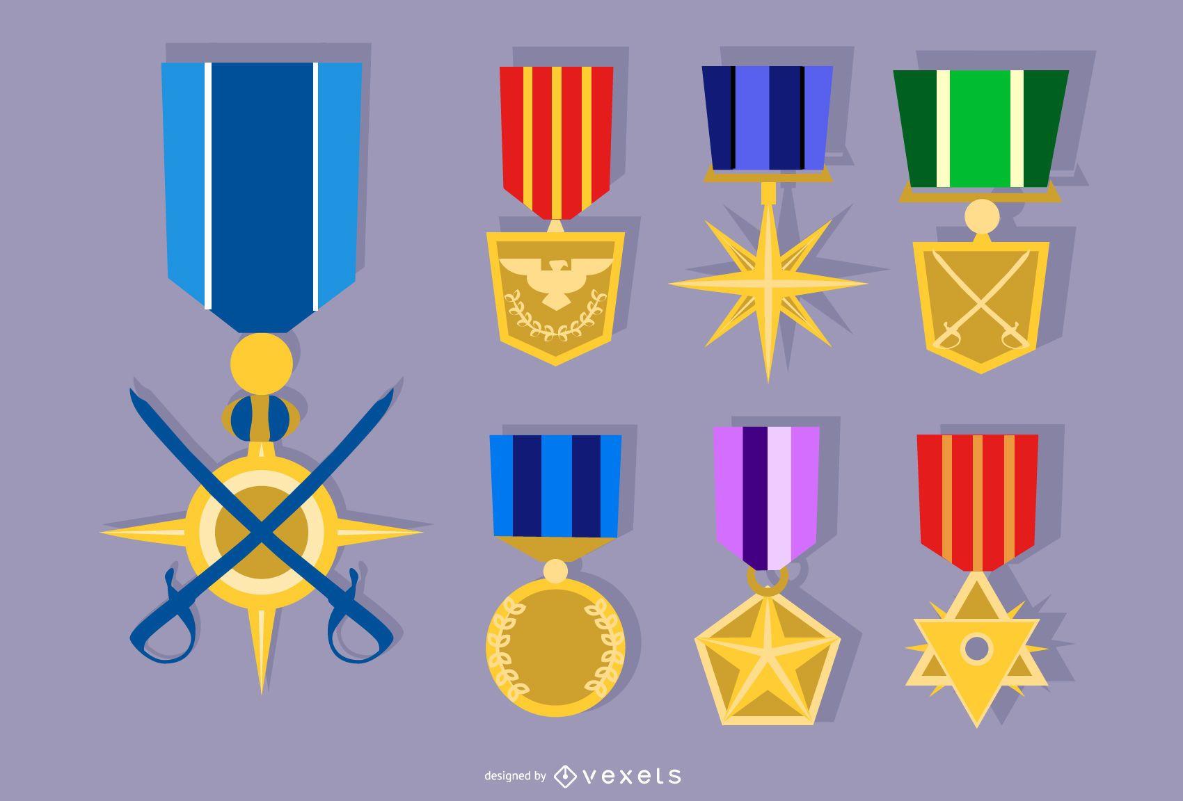 Conjunto de vectores de medalla del ejército