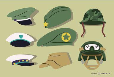 Conjunto de chapéu militar