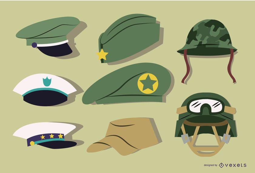 Conjunto de sombrero militar