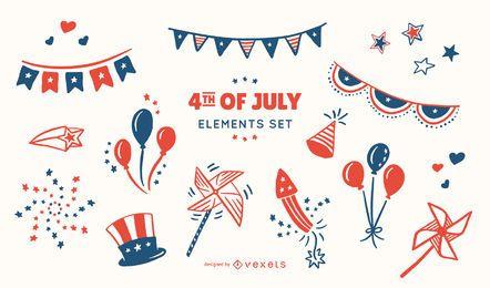 Conjunto de elementos del 4 de julio
