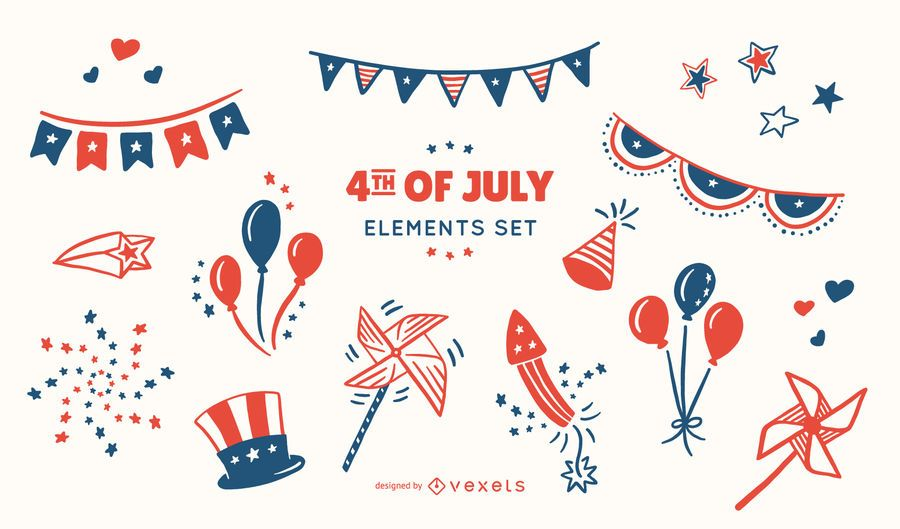 4th of July Elements Set