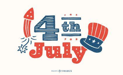 Diseño de letras del 4 de julio.