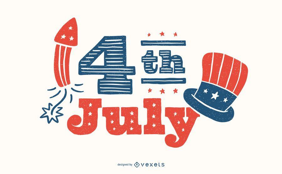 4 de julho Lettering Design