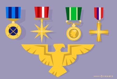 Army Medal and Eagle Badge