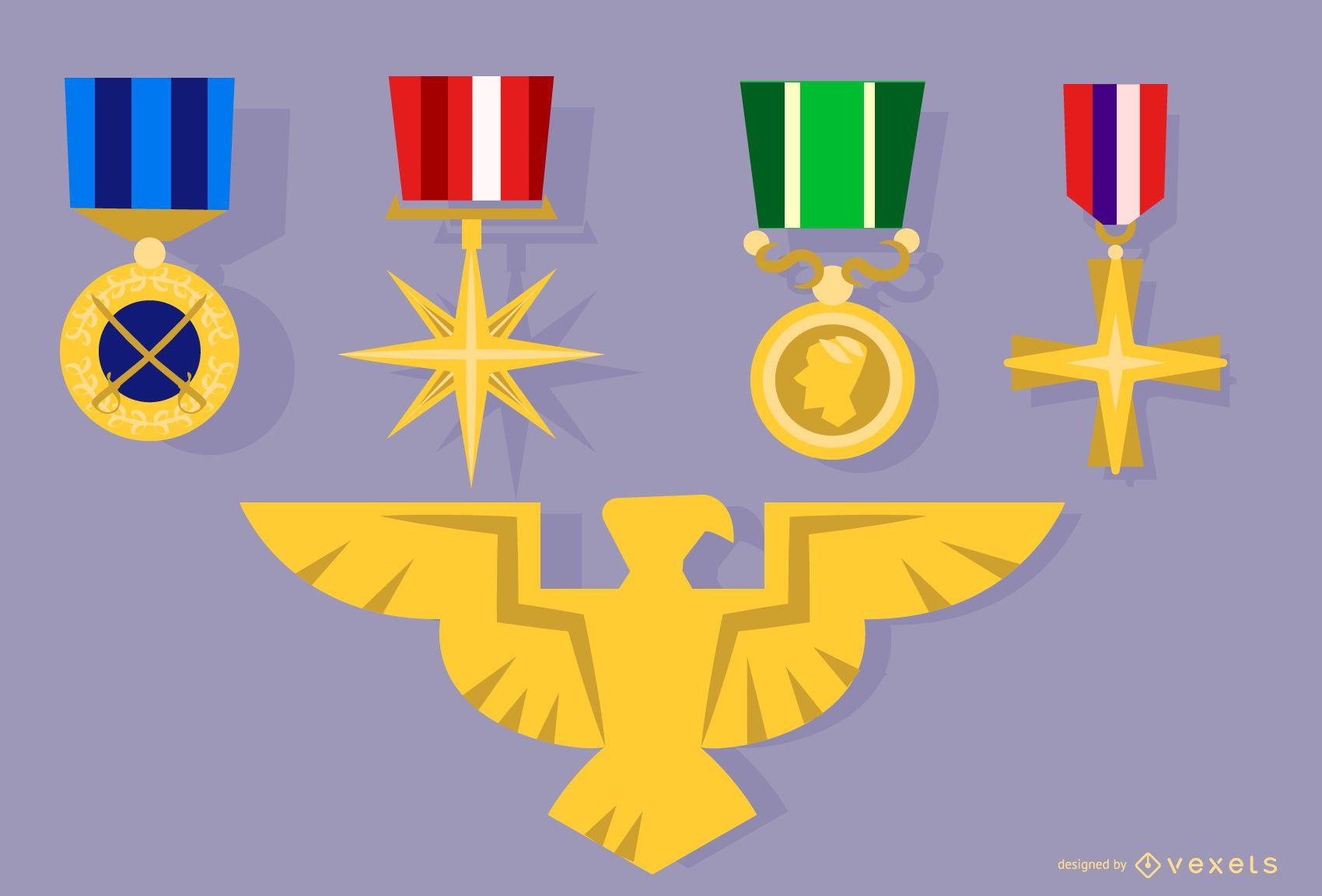 Medalla del ejército e insignia del águila