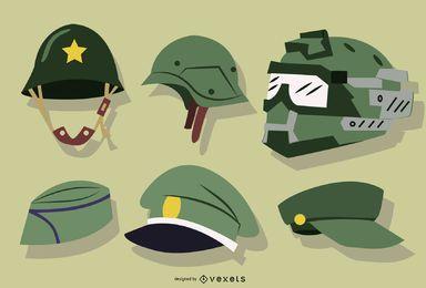 Sombreros de soldado y colección de cascos.
