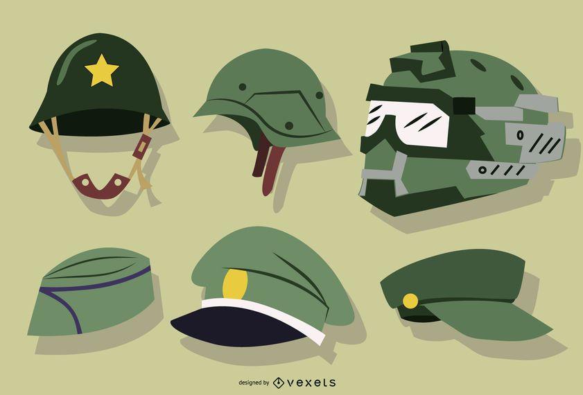 Chapéus de soldado e coleção de capacete