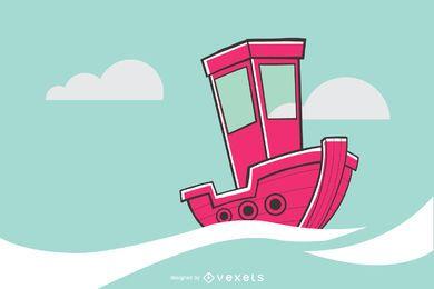 Ilustración de velero rosa