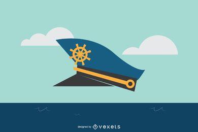 Ilustración de sombrero de capitán