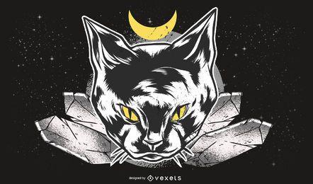 Ilustración de gato oscuro
