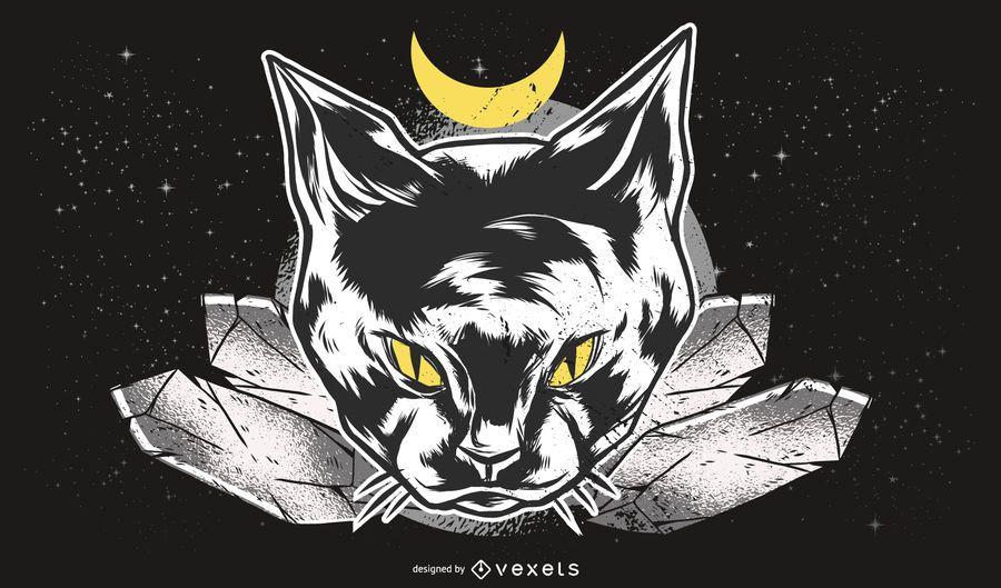 Ilustração de gato escuro