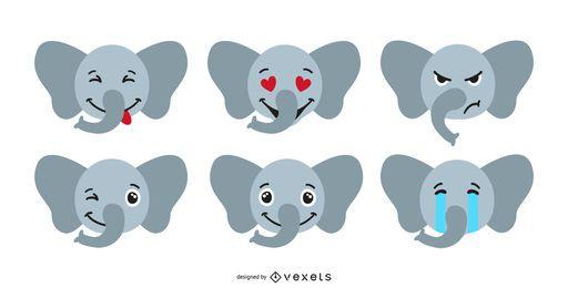 Niedlicher Elefant Emoji Set