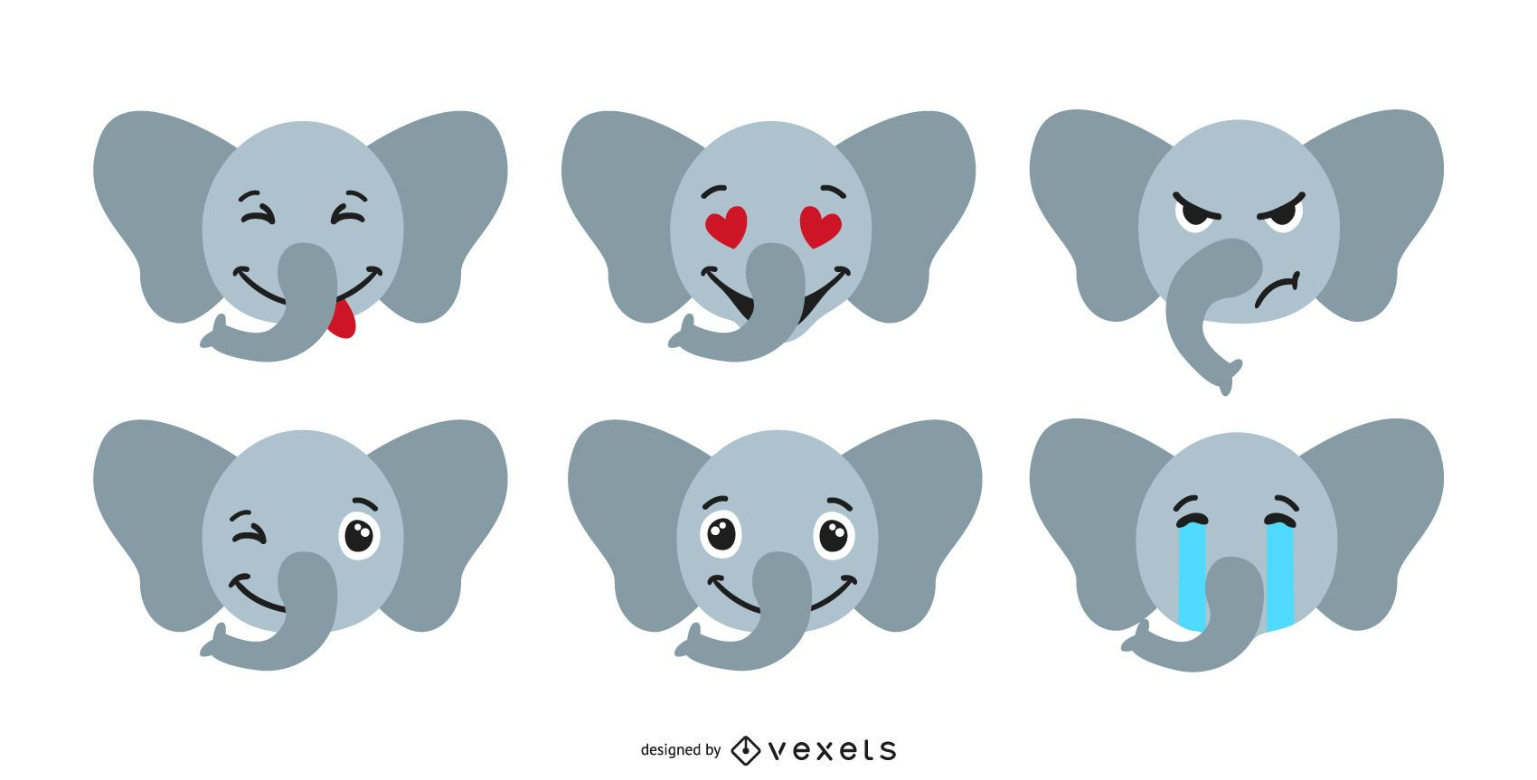 Lindo conjunto de emoji de elefante