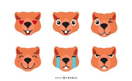 Niedliches Otter Emoji Set