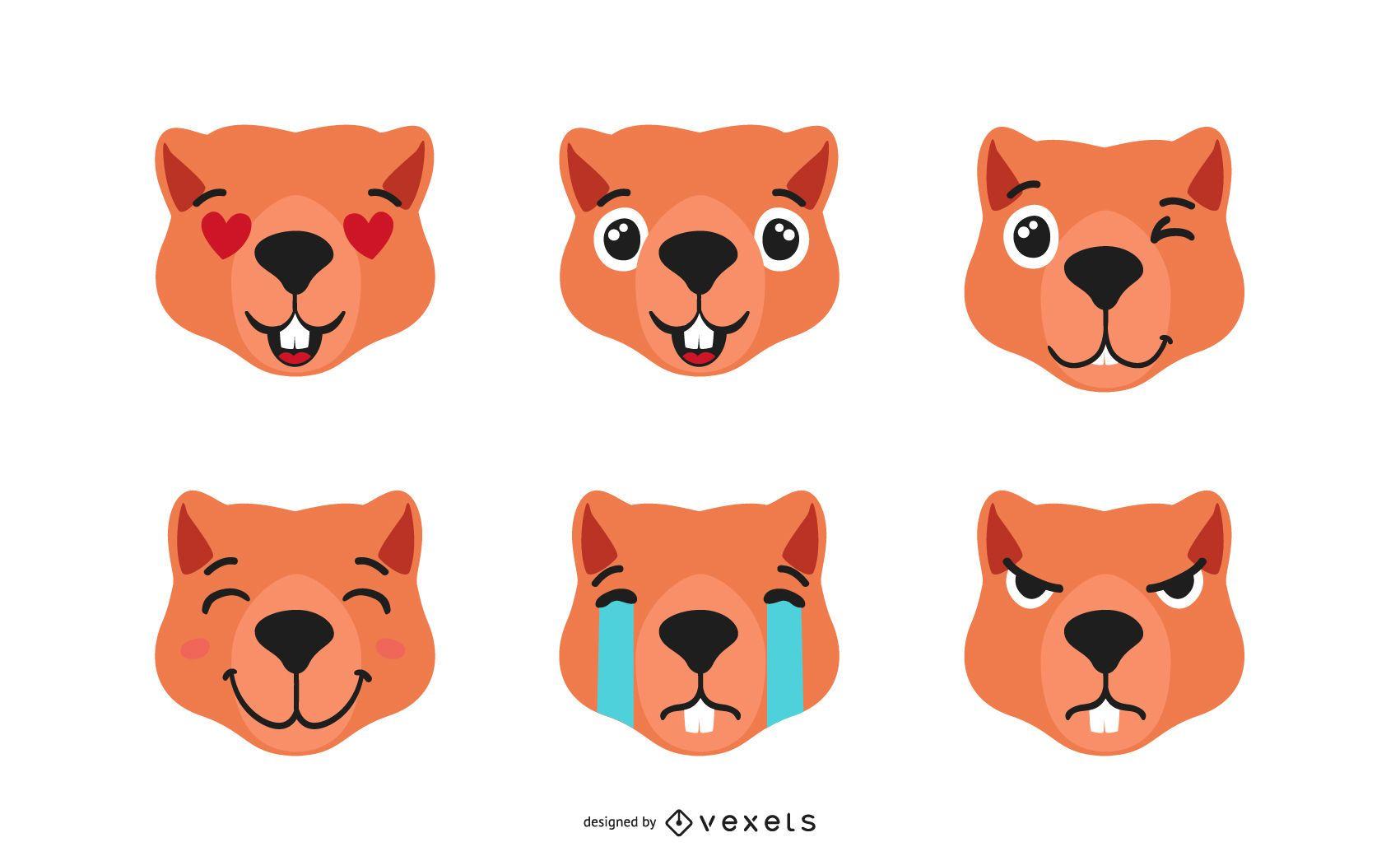 Lindo conjunto de emoji de nutria