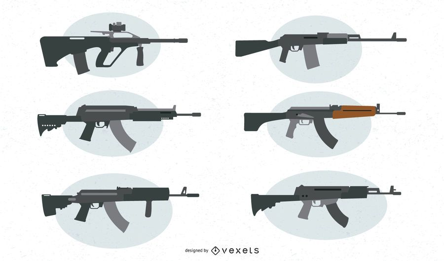 Conjunto de vetores de arma de assalto