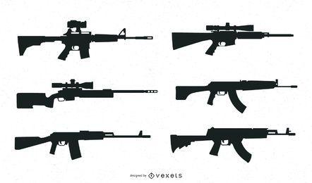 Coleção de silhueta de armas
