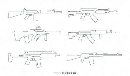 Conjunto de vetores de linha de armas de fogo