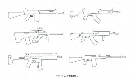 Firearms Line Vector Set