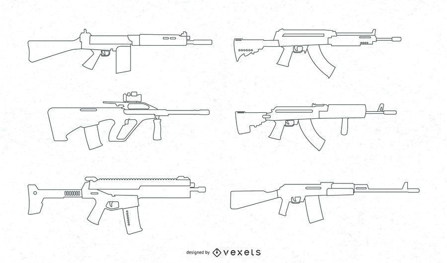 Firearms Line Vector Set
