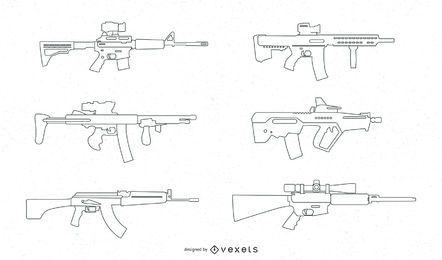 SNIPER RIFLES LINE VECTOR SET