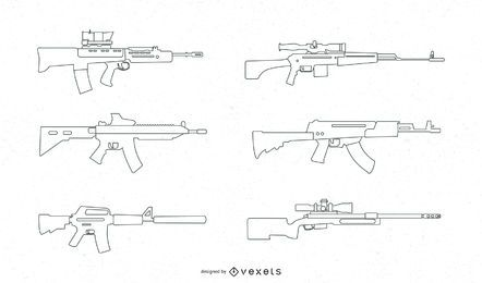Automatic Rifle Vector Set