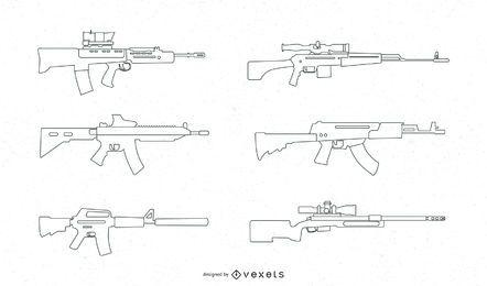 Automatischer Gewehr-Vektorsatz