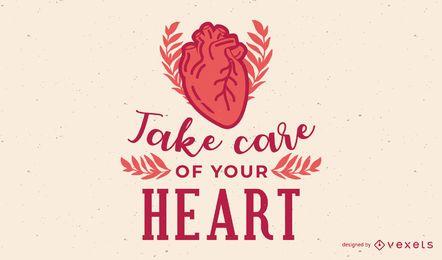 Kümmern Sie sich um Ihre Herz-Illustration