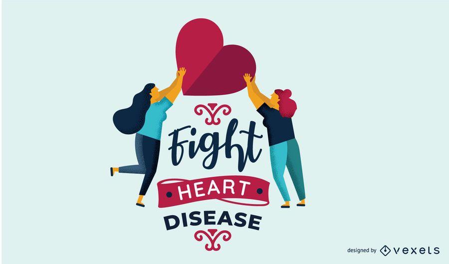 Luta, coração, doença, ilustração