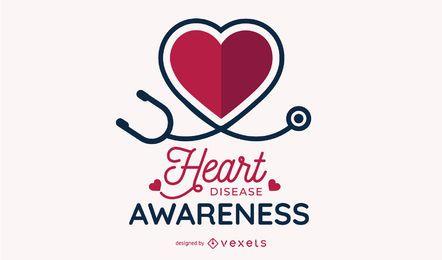 Herzkrankheits-Bewusstseins-Entwurf