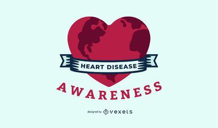 Ilustración de la conciencia de la enfermedad cardíaca