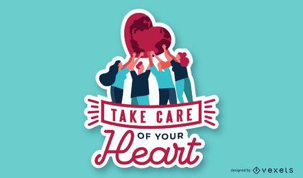 Kümmern Sie sich um Ihnen Herz-Illustration