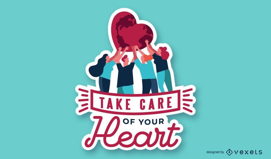 Cuide de você ilustração de coração