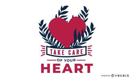 Cuida de tu diseño de mensaje de corazón