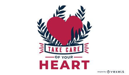 Kümmern Sie sich um Ihnen Herz-Mitteilungs-Entwurf