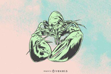 Ilustração detalhada da lagosta
