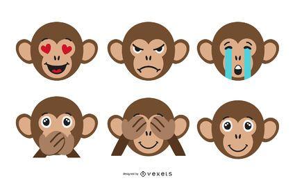 Conjunto de emoji de macaco