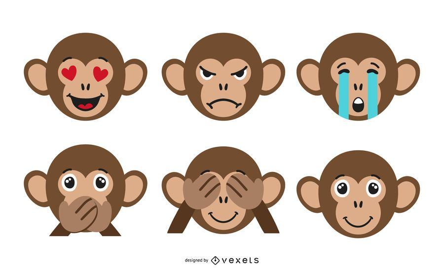 Monkey Emoji Set