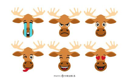Conjunto de Emoji de dibujos animados de alces