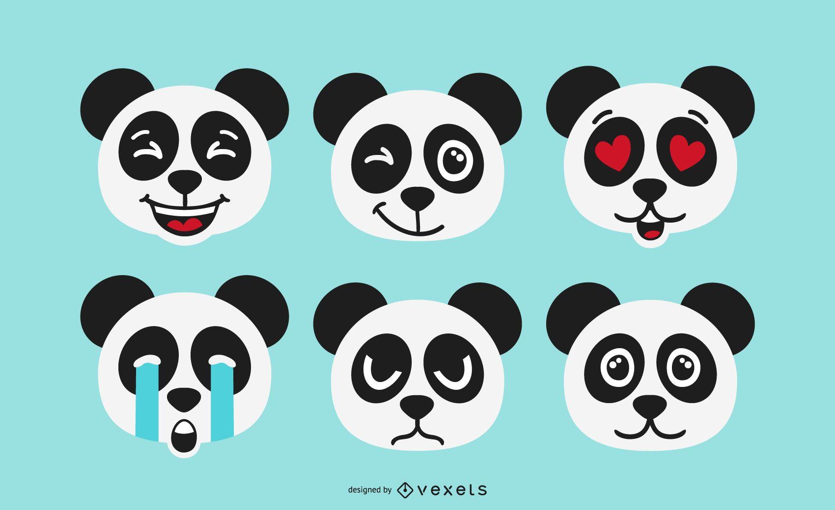 Conjunto de emoji de oso panda