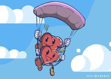 Parapente de personagens de coração