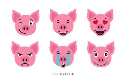 Conjunto de emoji de cerdo