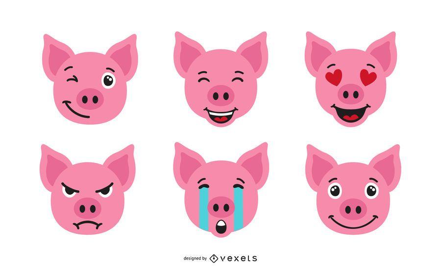Schwein Emoji Set