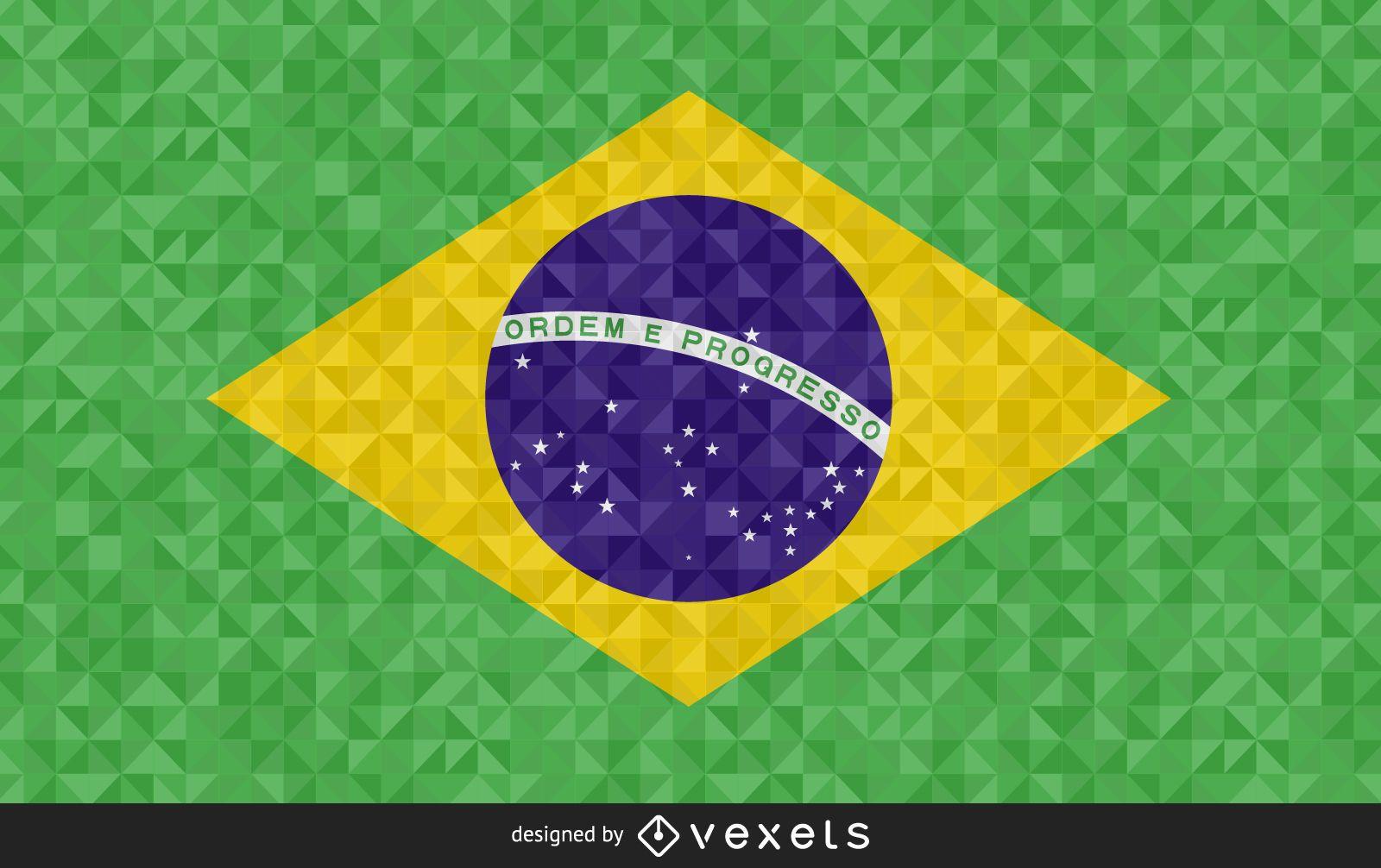 Brazil Flag polygonal Design