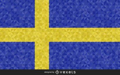 Bandera de Suecia diseño poligonal