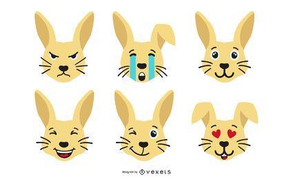 Kaninchen Emoji Set