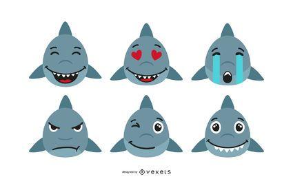 Conjunto de Emoticons de Tubarão