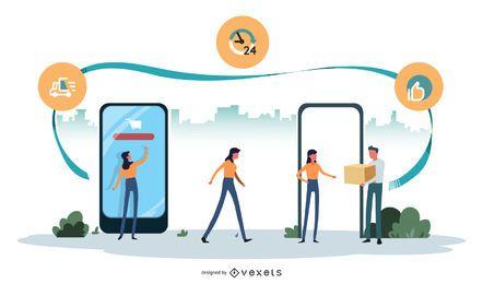 Vector de ilustración de entrega en línea